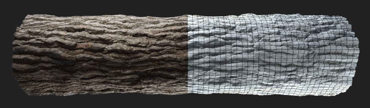 HyperTrees pinewood bark seamless displacement